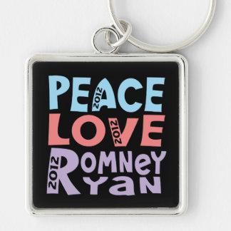 amor Romney Ryan de la paz Llavero Cuadrado Plateado