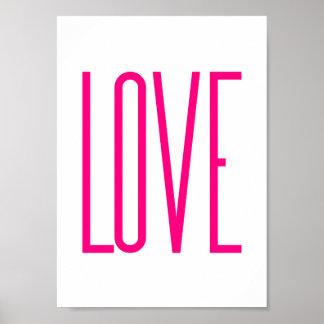 Amor rosado brillante moderno póster