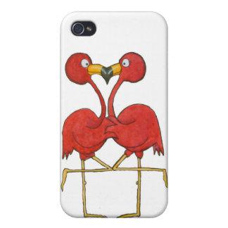 Amor rosado caprichoso de los pares del flamenco f iPhone 4 protector