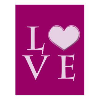 amor rosado con el corazón postal