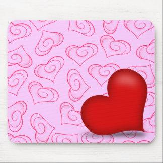 Amor rosado (corazón sólido) mousepad