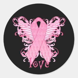 Amor rosado de la cinta etiqueta redonda
