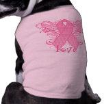 Amor rosado de la cinta playera sin mangas para perro