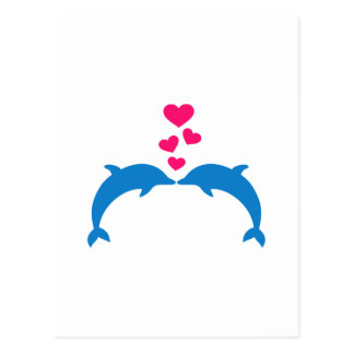 Amor rosado de los corazones de los delfínes tarjetas postales