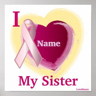 Amor rosado de RibbonI mi poster personalizado her