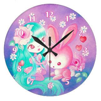 Amor rosado del conejito reloj redondo grande