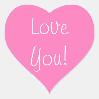 ¡Amor rosado del corazón usted! pegatinas Pegatina En Forma De Corazón