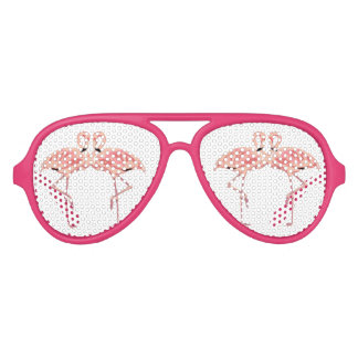 Amor rosado del flamenco lentes de fiesta