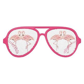 Amor rosado del flamenco gafas de fiesta