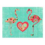 Amor rosado del flamenco postal
