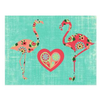 Amor rosado del flamenco tarjeta postal