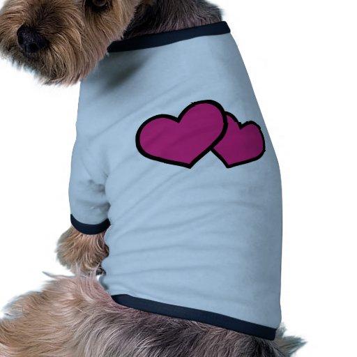 amor rosado del icono de los corazones camiseta con mangas para perro