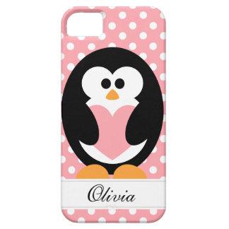 Amor rosado del pingüino funda para iPhone SE/5/5s