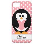 Amor rosado del pingüino iPhone 5 fundas