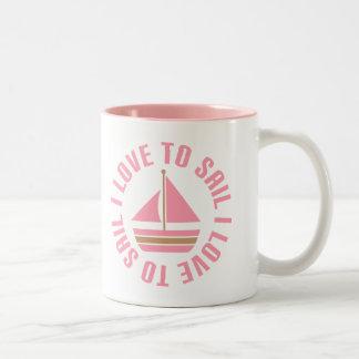 Amor rosado del velero I para navegar el regalo Taza Dos Tonos
