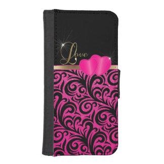 Amor rosado elegante del brillo carteras para teléfono
