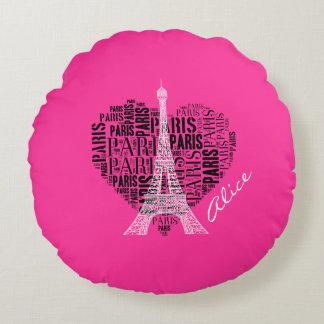 Amor rosado femenino París del regalo el | de Cojín Redondo