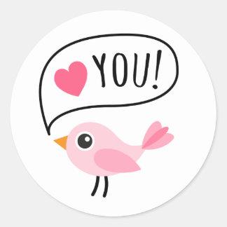 Amor rosado lindo del pájaro I corazón usted dib Etiquetas Redondas