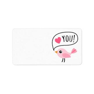 Amor rosado lindo del pájaro I (corazón) usted esc Etiquetas De Dirección