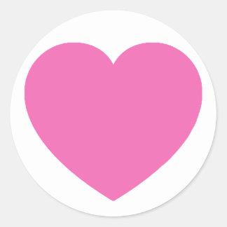 Amor rosado llano pegatina redonda