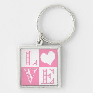 Amor rosado y blanco de Bubblegum con el corazón Llavero Cuadrado Plateado