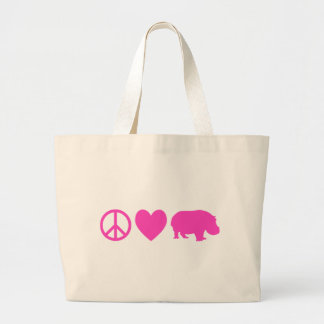 Amor rosado y hipopótamos de la paz bolsa de tela grande