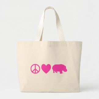 Amor rosado y hipopótamos de la paz bolsas