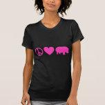 Amor rosado y hipopótamos de la paz camiseta