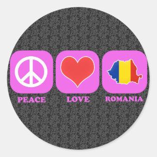 Amor Rumania de la paz Pegatina Redonda