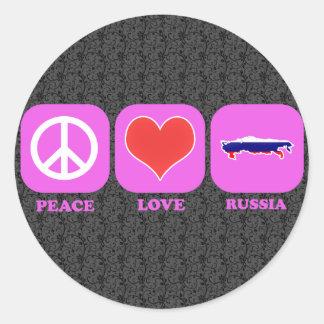 Amor Rusia de la paz Pegatina Redonda