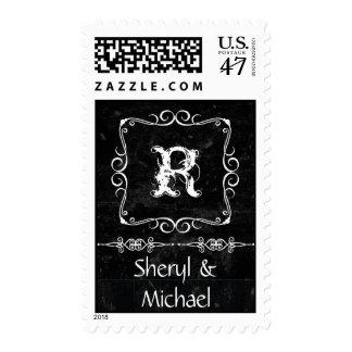 Amor rústico del boda del remolino del estilo de timbres postales