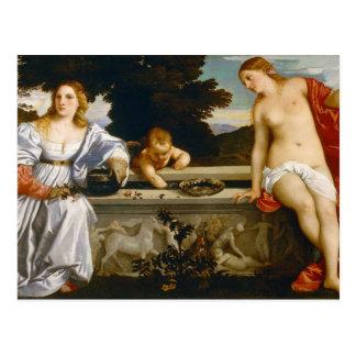 Amor sagrado y amor profano por Titian Postal