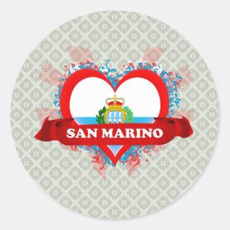 Amor San Marino del vintage I Pegatina Redonda