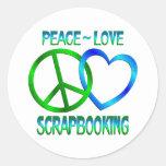 Amor SCRAPBOOKING de la paz Pegatina Redonda