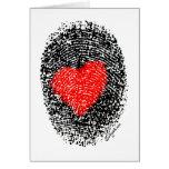 Amor secreto de la huella dactilar del corazón del tarjeta