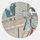Amor secreto por Shiba, Kokan Ukiyoe Pegatina Redonda