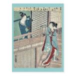 Amor secreto por Shiba, Kokan Ukiyoe Postal