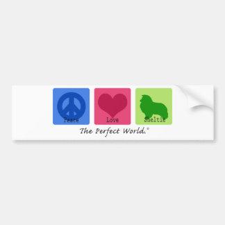 Amor Sheltie de la paz Pegatina Para Auto