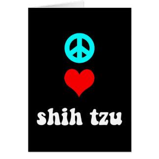 Amor Shih Tzu de la paz Tarjeton