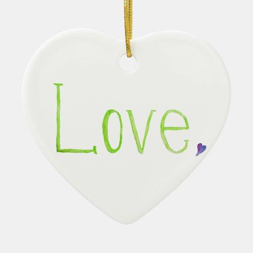 Amor, simplemente adorno navideño de cerámica en forma de corazón