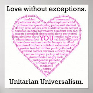 Amor sin el poster del corazón de las excepciones póster