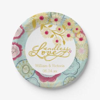 Amor sin fin banal floral que casa las placas de plato de papel de 7 pulgadas