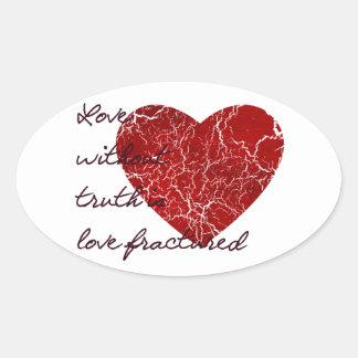 Amor sin verdad colcomanias óval personalizadas