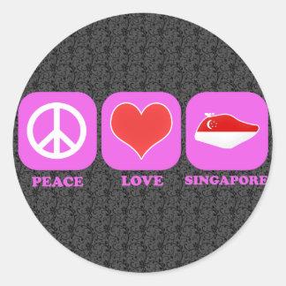 Amor Singapur de la paz Pegatina Redonda