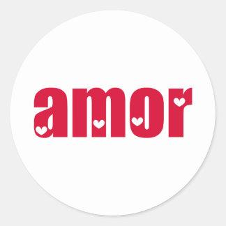 Amor! Spanish Love design! Classic Round Sticker