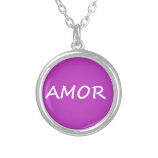 Amor, Spanish Love Silver Plated Necklace