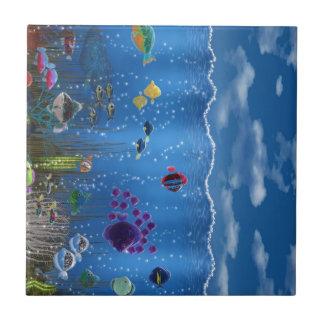 Amor subacuático - azulejo cuadrado pequeño