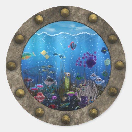 Amor subacuático - pegatina redonda