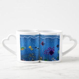 Amor subacuático - set de tazas de café