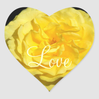 "¡""Amor subió volante amarillo! Flores!"" Corazón Pegatina En Forma De Corazón"